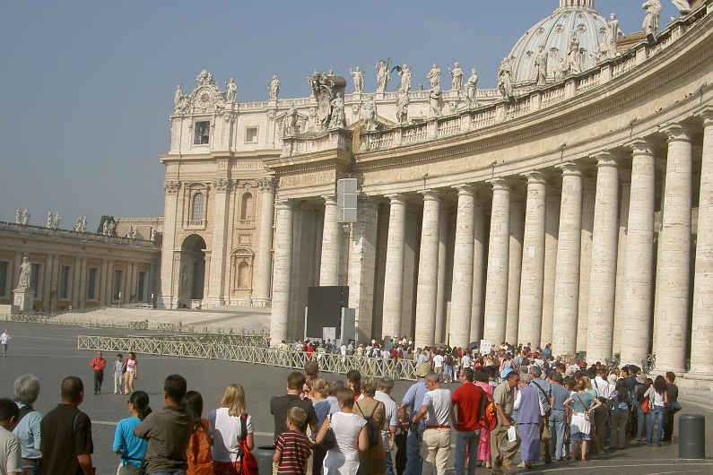 People in line at in St. Peter's Square in Rome