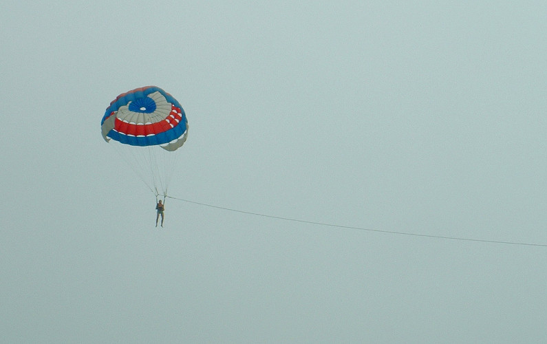 Nadia in the Sky During Her Parachute Parasailing Trip