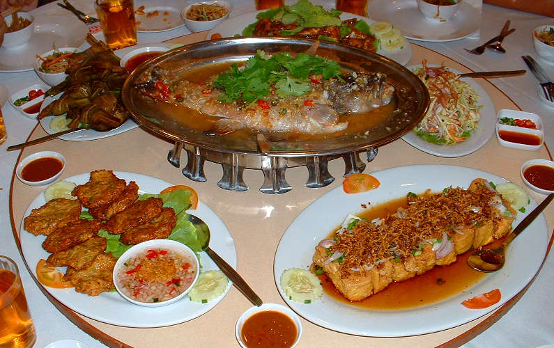 Table of Food for Chinese New Year Dinner