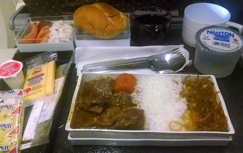 Beef Rice Plate Served on Singapore Airlines SIA Flight to Asia