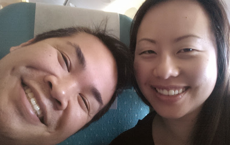 Nadia and JM Taking a Plane Take Off Selfie