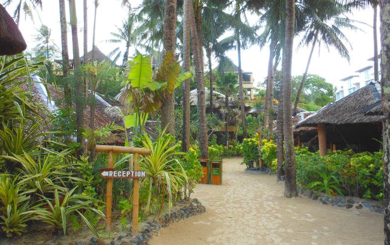 Boracay Fridays Hotel courtyard and Reception Signage