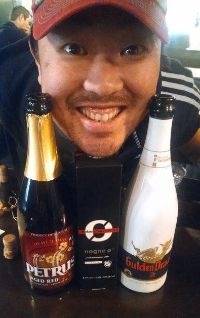 Happy Face Between 2 Bottles of Beer at ISO Beer