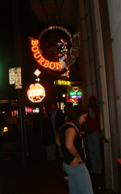 Neon Bourbon Street Sign in New Orleans