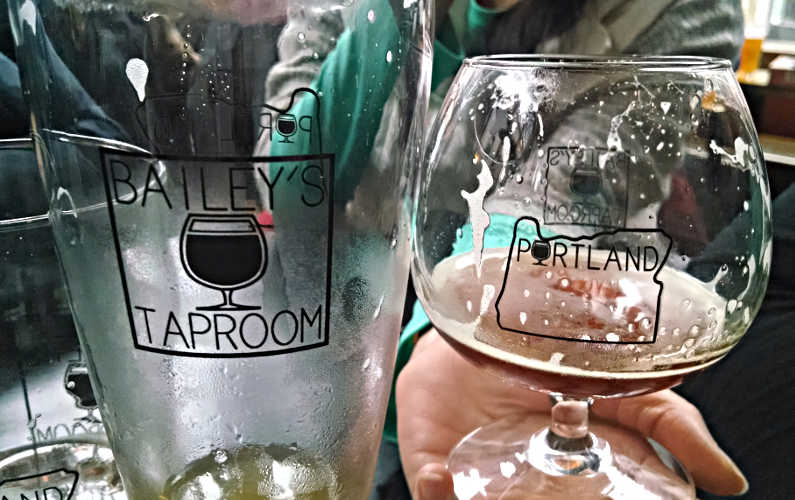 2 Empty Beer Glasses at Bailey's Taproom in Portland