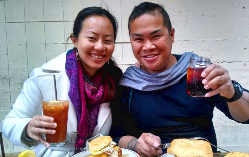 Nadia and Jm Eating and Drinking in Portland Oregon