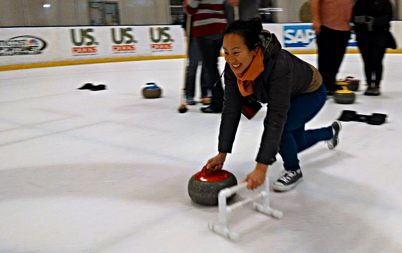 Nadia Curling for Her Very First Time