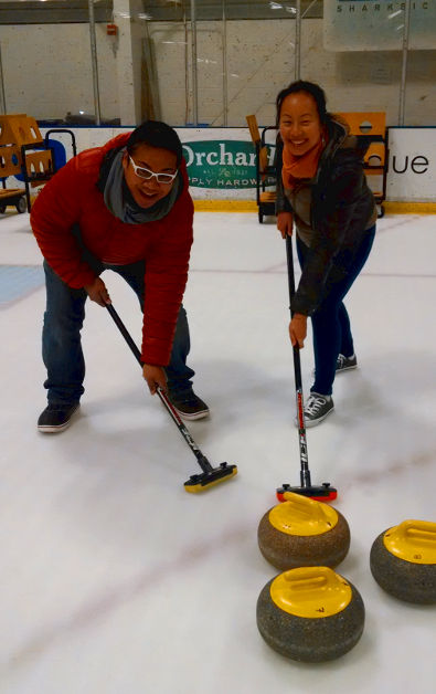 Nadia and JM Warming Up to Curl