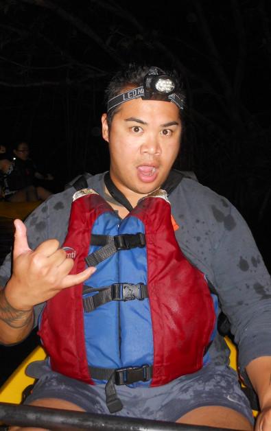 JM Posing During Night Time Kayaking in Puerto Rico