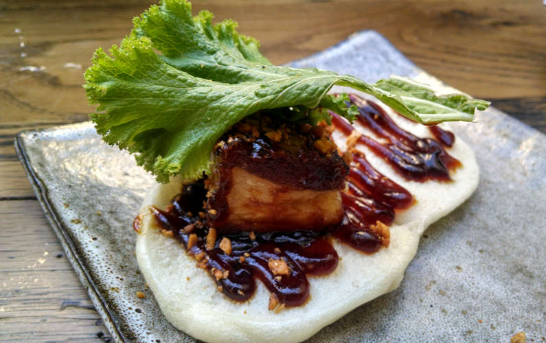 Dirty Habit Steamed Bun with Fried Lamb Belly