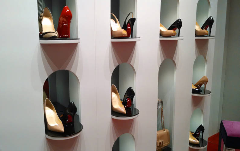 A Wall Display of Many Different Models of Christian Louboutin Pumps at Their San Francisco Branch