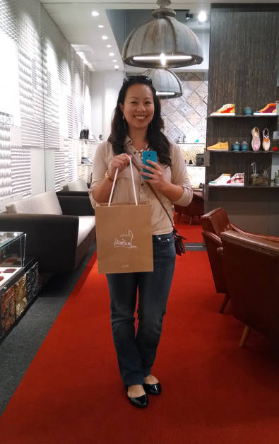 Nadia with Her Very First Christian Louboutin Purchase San Francisco Branch
