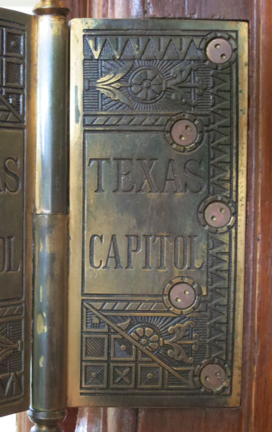 """Door Hinge Plate Decorated with the Words """"Texas Capitol"""""""