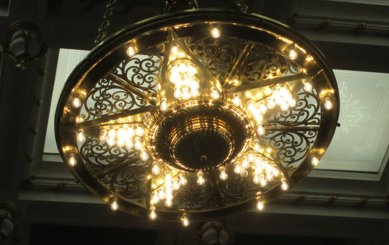 Chandelier Lights in the Shape of the Texas Star at the Capitol Building