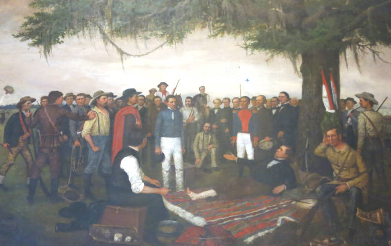 A Painting of Men at the Texas Capitol Building