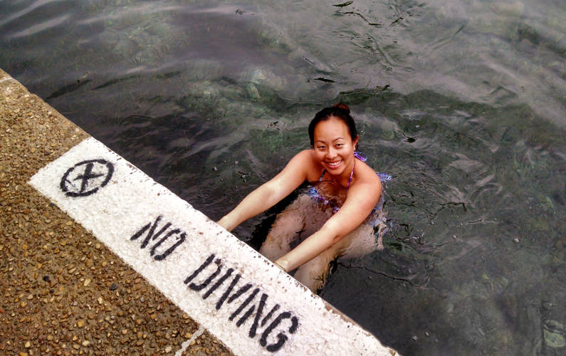 Nadia Hanging Out in Austin's Barton Springs Municipal Pool