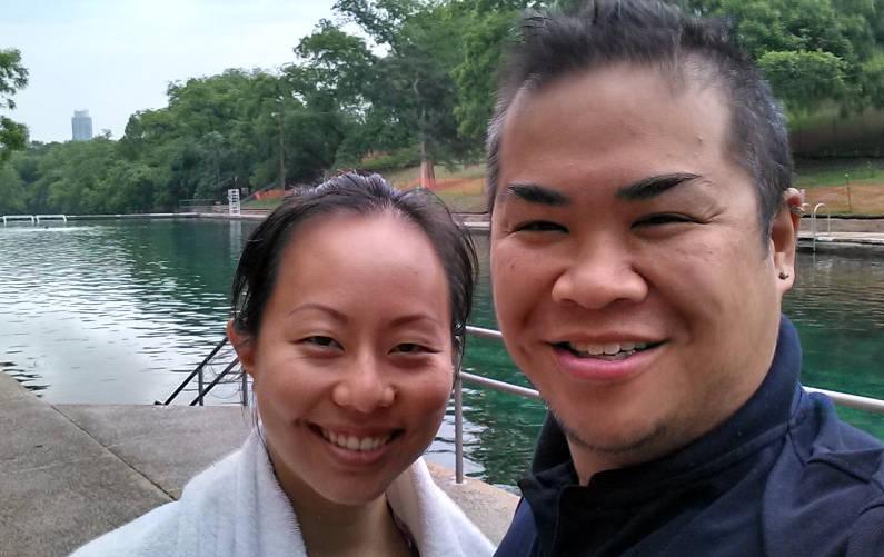 Nadia and JM Standing Next to Austin's Barton Springs Municipal Pool