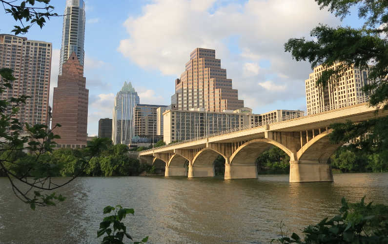 View of the Austin City Skyline and a Bridge From the Lone Star Riverboat Tour