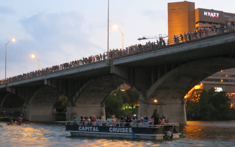 Crowds of People on Congress Avenue Bridge Waiting to See the Bats Come Out to Feed
