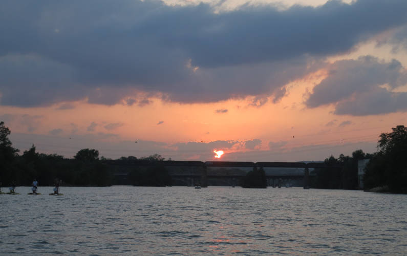 Austin Sunset Over the River During the Lone Star Riverboat Tour