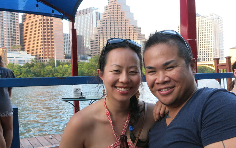 Nadia and JM Sitting on the Lone Star Riverboat Boat