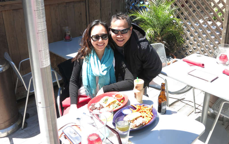 Nadia and JM at Hula's Island Grill Dining Area