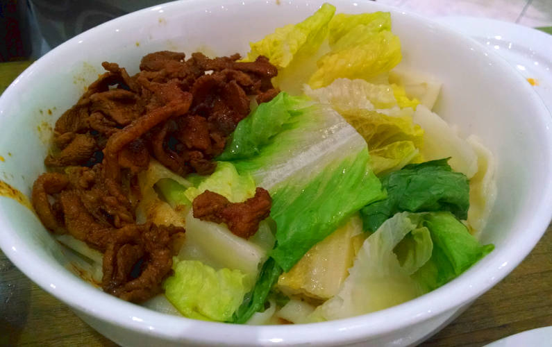 QQ Noodle's Dry Noodles with Spicy Pork in Garlic Sauce