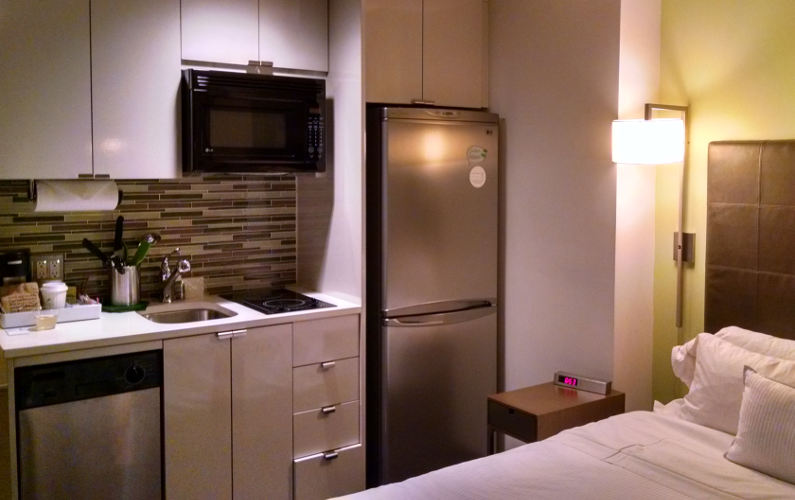 Close Quarters of the Bedroom and Kitchen at the Element