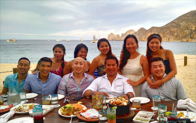 Nadia and JM with Friends Eating Dinner on Cabo Beach