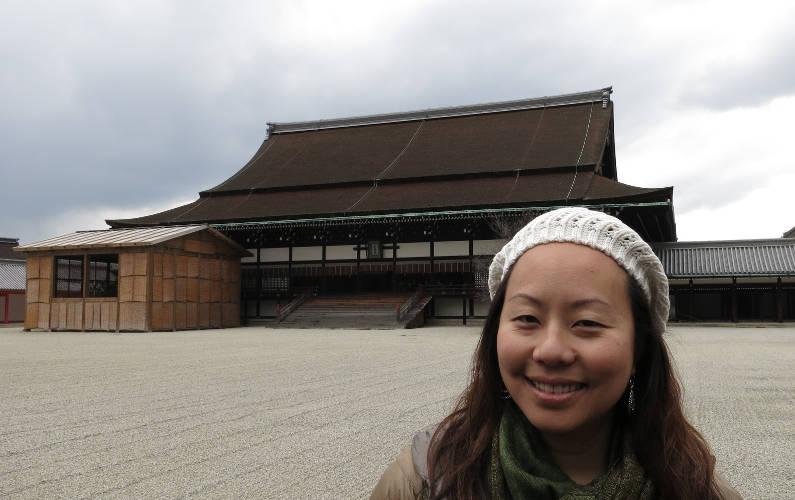 Nadia at Shishin-den at the Kyoto Imperial Garden
