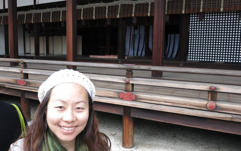 Nadia at the Seiryo-den at the Kyoto Imperial Palace