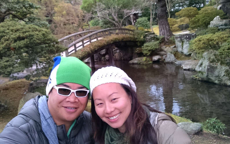 Nadia and JM by the Bridge in the Garden at the Kyoto Imperial Palace