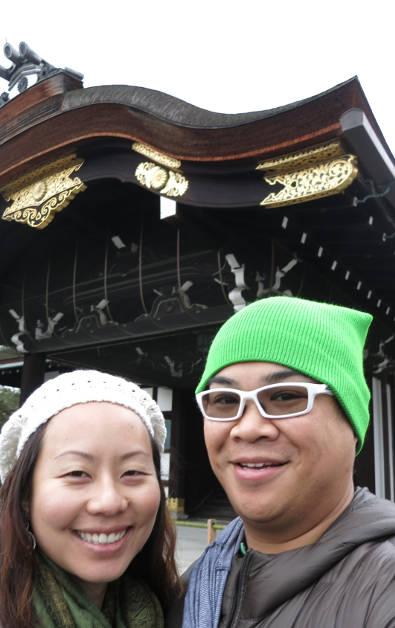 Nadia and JM at the Kyoto Imperial Palace Kenshunmon Gate