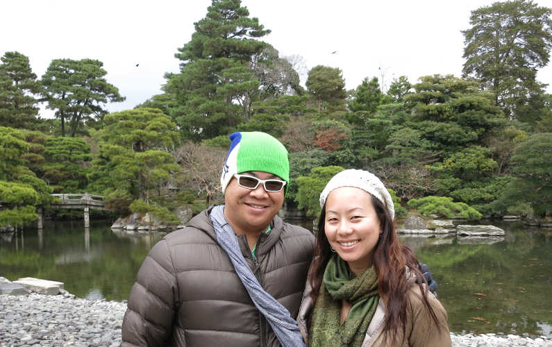 Nadia and JM at the Pond Garden in the Kyoto Imperial Palace