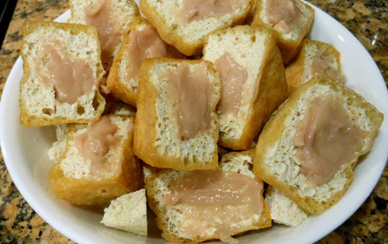 A Bowl of Fish Paste Stuffed Tofu for Yong Tau Fu Recipe