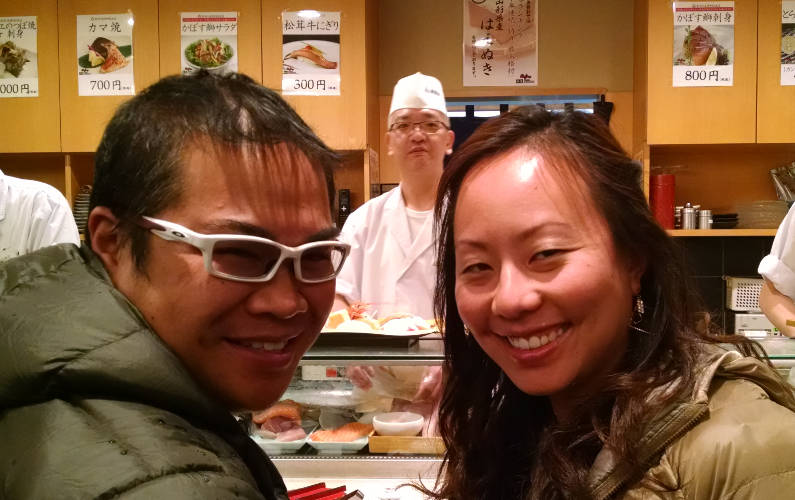 Nadia and JM Taking a Selfie with the Midori Ginza Sushi Chef
