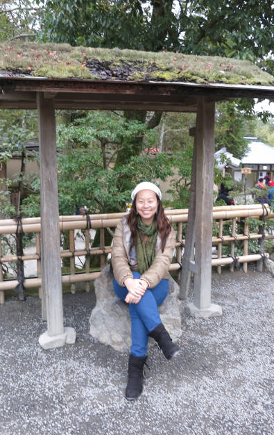 Nadia Sitting Down at Kyoto Golden Pavilion
