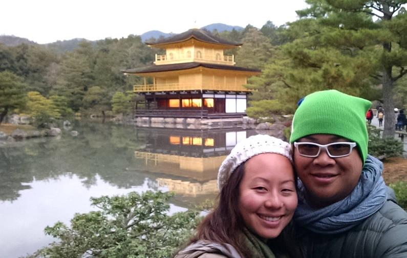 Nadia and JM at the Kyoto Golden Pavilion