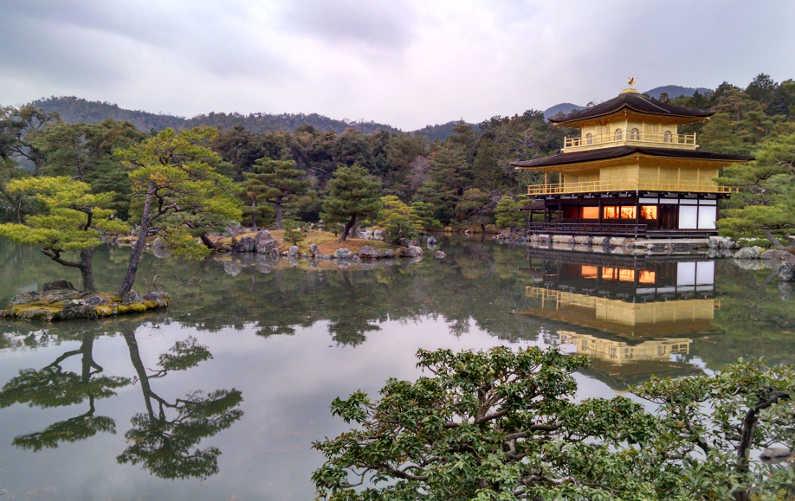 Kyoto Golden Pavilion Next to a Still Pond