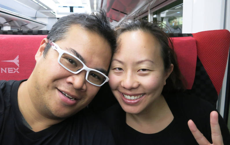 Nadia and JM Taking the JR Bullet Train to Kyoto
