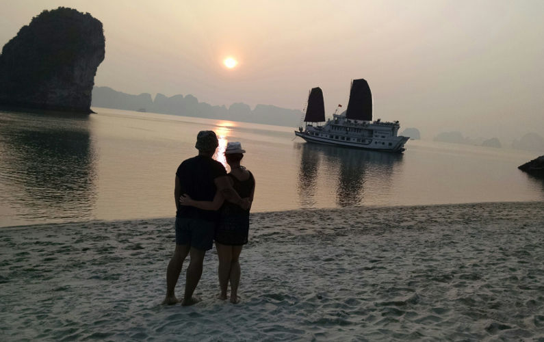 Nadia and JM Enjoying Sunset on the Beach Near Indochina Junk