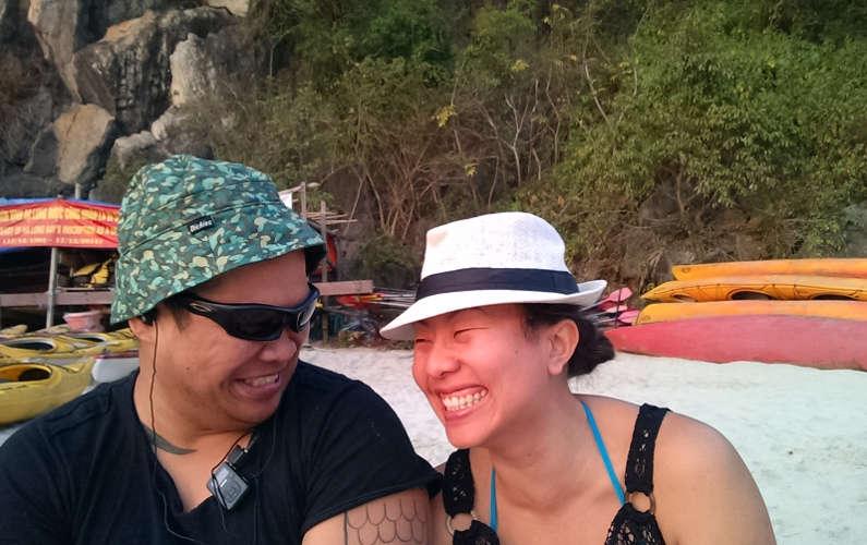 JM Making Nadia Laugh During a Break Indochina Junk Tour
