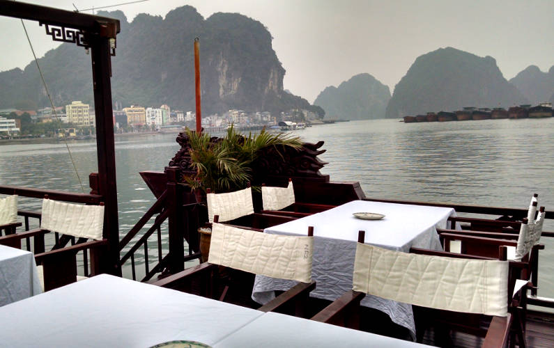 Outdoor Dining Tables on the Sun Deck of the Indochina Junk