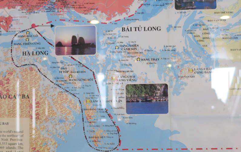 Indochina Junk Map of Bai Tu Long Bay