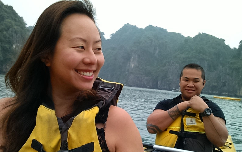 Nadia and JM Tandem Kayaking Around Bai Tu Long Bay During the Indochina Junk Tour