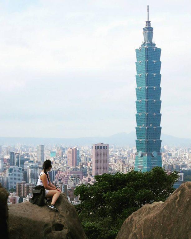 Nadia Looking at Taipei 101 Building