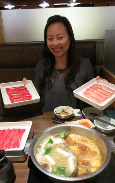 Nabezo Shibuya Nadia Posing with Meat Pork and Shabu Shabu