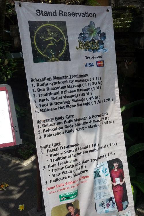 Sign Jaens Spa Bali