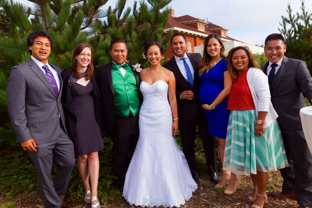 JM and Nadia with guests outside at the Presidio
