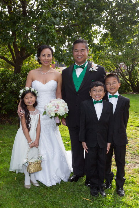 JM and Nadia with their 2 ring bearers and flower girl